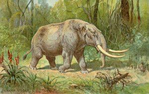 Künstlerische Darstellung eines Mastodons von Heinrich Harder, ca. 1920